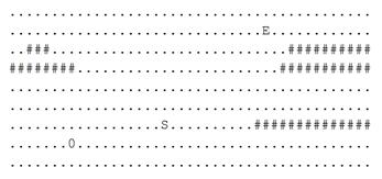有一个推箱子的游戏, 一开始的情况如下图:          上图中, '.' 表示可到达的位置, '#' 表示不可到达的位置,其中 S 表示你起始的位置 , 0表示初始箱子的位置 , E表示预期箱子的位置,你可以走到箱子的上下左右任意一侧, 将箱子向另一侧推动。如下图将箱子向右推动一格;       ..S0.. -> ...S0.       注意不能将箱子推动到'#'上, 也不能将箱子推出边界;       现在, 给你游戏的初始样子, 你需要输出最少几步能够完成游戏, 如果不能完成 , 则输出-1。