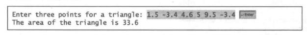 (几何:三角形的面积)编写程序,提示用户输人三角形的三个点(x1,y2)、 (x2,y2) 和 (x3,y3),然后显示它的面积。计算三角形面积的公式是:     下面是一个运行示例 :