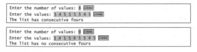 (模式识别方面:四个连续相等的数)编写下面的方法,测试某个数组是否有四个连续的值相同 的数字。    public static boolean isConsecutiveFour(int[] values)    编写测试程序,提示用户输人一个整数列表,如果这个列表中有四个连续的具有相同值的 数,那就显示 true ; 否则,显示 false。程序应该首先提示用户键人输人的大小,即列表中值 的个数。这里是一个运行示例。