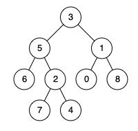 给定一个二叉树, 找到该树中两个指定节点的最近公共祖先。      例:图中给定树 {3,5,1,6,2,0,8,#,#,7,4} 中,节点6、节点4的最近公共祖先为5。