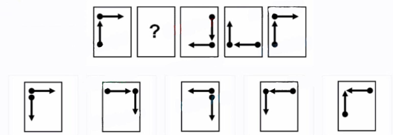 根据页面顶部的图片,从选项中选择正确的答案。选择问号处应出现的图像作为答案。如果没你有问号,则选择序列中下一个应出现的图像作为答案。