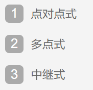 目前无线局域网采用的拓扑结构主要有1 、2 、3