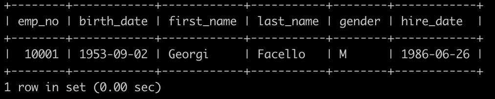 有一个员工employees表简况如下:          建表语句如下:   CREATETABLE`employees`( `emp_no`int(11)NOTNULL, `birth_date`dateNOTNULL, `first_name`varchar(14)NOTNULL, `last_name`varchar(16)NOTNULL, `gender`char(1)NOTNULL, `hire_date`dateNOTNULL, PRIMARYKEY(`emp_no`));             请你查找employees里入职员工时间排名倒数第三的员工所有信息, 以上例子输出如下: