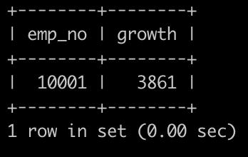 有一个员工表employees简况如下:               有一个薪水表salaries简况如下:                  请你查找在职 员工自入职以来的薪水涨幅情况,给出在职员工编号emp_no以及其对应的薪水涨幅growth,并按照growth进行升序,以上例子输出为       (注: to_date为薪资调整某个结束日期,或者为离职日期,to_date='9999-01-01'时,表示依然在职,无后续调整记录)
