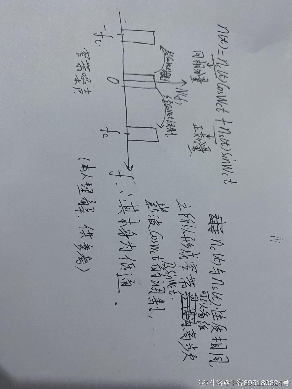 窄带噪声n(t) 的同相分量和正交分量具有如下性质